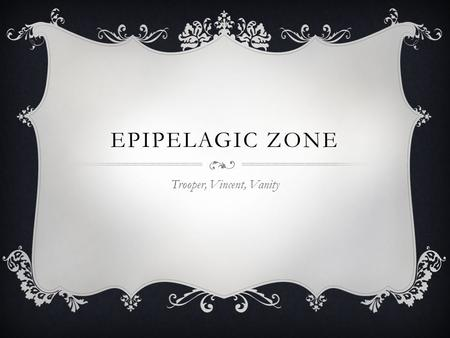 EPIPELAGIC ZONE Trooper, Vincent, Vanity. FACTS  This zone is 0 meters to 200 meters deep!( about 600 feet!)  Holds 90% of marine life  Sunlight.