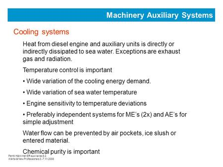 Machinery Auxiliary Systems