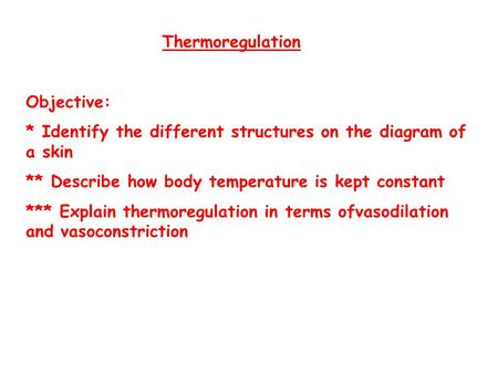 Thermoregulation Objective:
