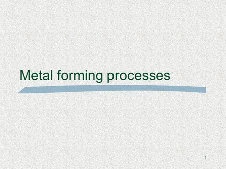1 Metal forming processes. Metal forming  Using forces to shape solid metal plastically  Avoids problems with solidification which can occur during.