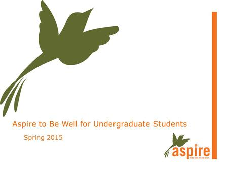 Aspire to Be Well for Undergraduate Students Spring 2015.