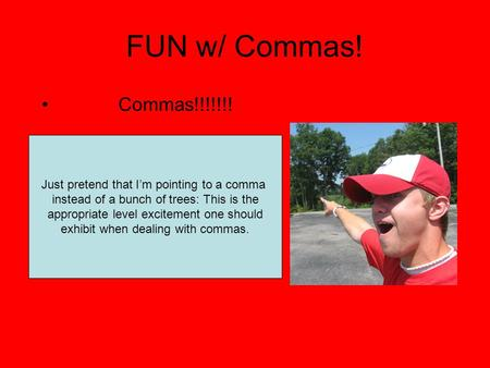 FUN w/ Commas! Commas!!!!!!! Just pretend that I'm pointing to a comma instead of a bunch of trees: This is the appropriate level excitement one should.