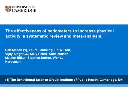 The effectiveness of pedometers to increase physical activity: a systematic review and meta-analysis. Dan Mason (1), Laura Lamming, Ed Wilson, Vijay Singh.