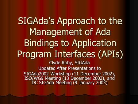 SIGAda's Approach to the Management of Ada Bindings to Application Program Interfaces (APIs) Clyde Roby, SIGAda Updated After Presentations to SIGAda2002.