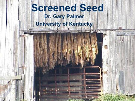 Screened Seed Dr. Gary Palmer University of Kentucky.