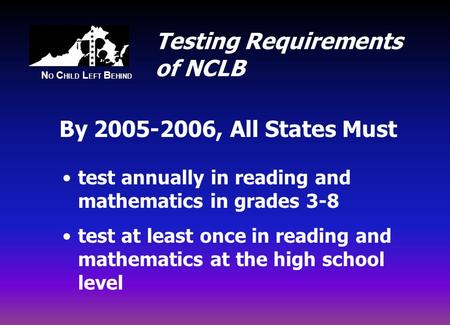 N O C HILD L EFT B EHIND Testing Requirements of NCLB test annually in reading and mathematics in grades 3-8 test at least once in reading and mathematics.