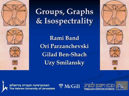 Groups, Graphs & Isospectrality Rami Band Ori Parzanchevski Gilad Ben-Shach Uzy Smilansky.
