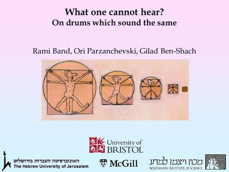 What one cannot hear? On drums which sound the same Rami Band, Ori Parzanchevski, Gilad Ben-Shach.