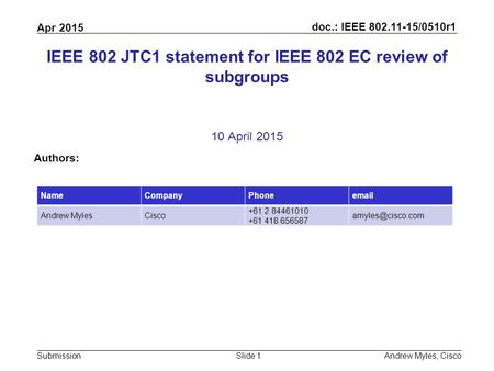 Doc.: IEEE 802.11-15/0510r1 Submission Apr 2015 Andrew Myles, CiscoSlide 1 IEEE 802 JTC1 statement for IEEE 802 EC review of subgroups 10 April 2015 Authors: