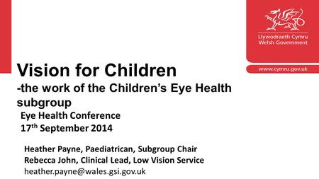 Corporate slide master With guidelines for corp -the work of the orate presentations Eye Health Conference 17 th September 2014 Heather Payne, Paediatrican,
