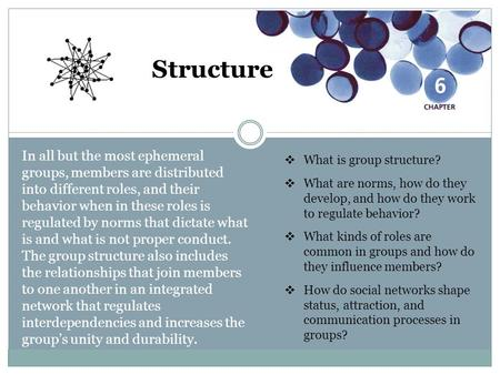 Structure In all but the most ephemeral groups, members are distributed into different roles, and their behavior when in these roles is regulated by norms.