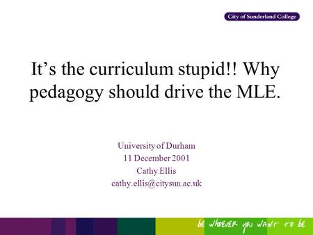 It's the curriculum stupid!! Why pedagogy should drive the MLE. University of Durham 11 December 2001 Cathy Ellis