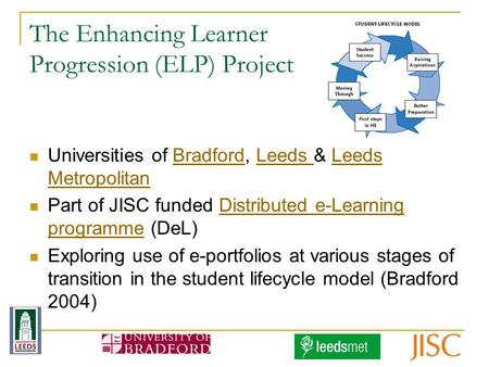 The Enhancing Learner Progression (ELP) Project Universities of Bradford, Leeds & Leeds MetropolitanBradfordLeeds Metropolitan Part of JISC funded Distributed.