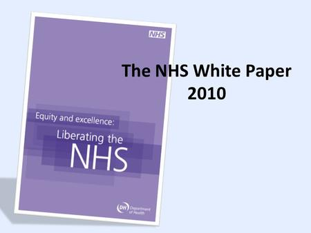 The NHS White Paper 2010. A system not structure Outcomes focused Robust Quality & Economic regulation Empowered professionals in autonomous providers.