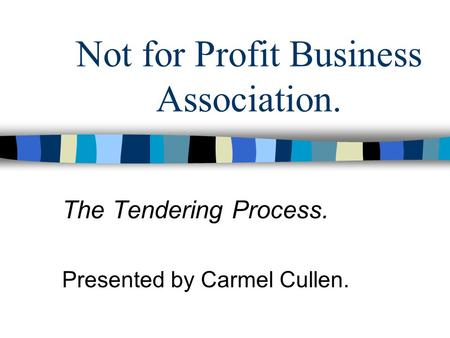 Not for Profit Business Association. The Tendering Process. Presented by Carmel Cullen.