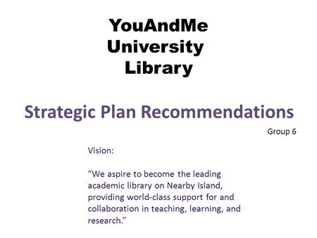"YouAndMe University Library Strategic Plan Recommendations Group 6 Vision: ""We aspire to become the leading academic library on Nearby Island, providing."