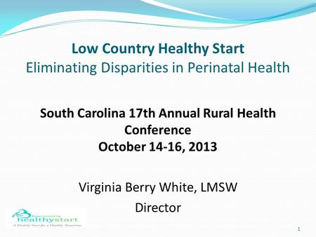 1 Low Country Healthy Start Eliminating Disparities in Perinatal Health South Carolina 17th Annual Rural Health Conference October 14-16, 2013 Virginia.