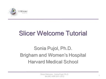 Sonia Pujol, Ph.D. Brigham and Women's Hospital Harvard Medical School Slicer Welcome - Sonia Pujol, Ph.D. NA-MIC ARR 2011-2012 1 Slicer Welcome Tutorial.