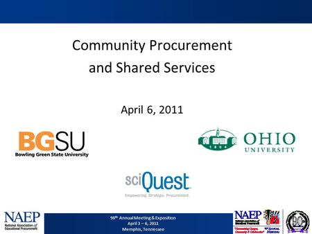 90 th Annual Meeting & Exposition April 3 – 6, 2011 Memphis, Tennessee Community Procurement and Shared Services April 6, 2011.
