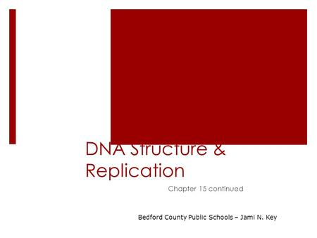 DNA Structure & Replication Chapter 15 continued Bedford County Public Schools – Jami N. Key.