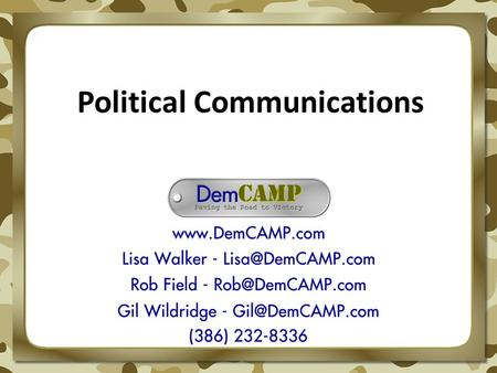 Political Communications. Political Communications is the art and science of influencing public opinion for political purposes.
