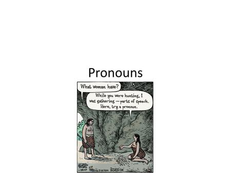 Pronouns. What is a Pronoun? A Pronoun is a word used in place of a noun. Usually pronouns refer to something that was already mentioned in previous sentence.