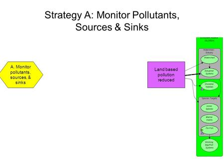 Strategy A: Monitor Pollutants, Sources & Sinks A. Monitor pollutants, sources, & sinks Land based pollution reduced.