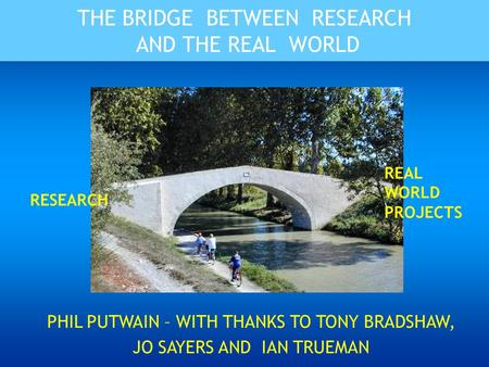 THE BRIDGE BETWEEN RESEARCH AND THE REAL WORLD PHIL PUTWAIN – WITH THANKS TO TONY BRADSHAW, JO SAYERS AND IAN TRUEMAN RESEARCH REAL WORLD PROJECTS.