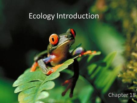 Ecology Introduction Chapter 18. Ecology Biological levels of organization.