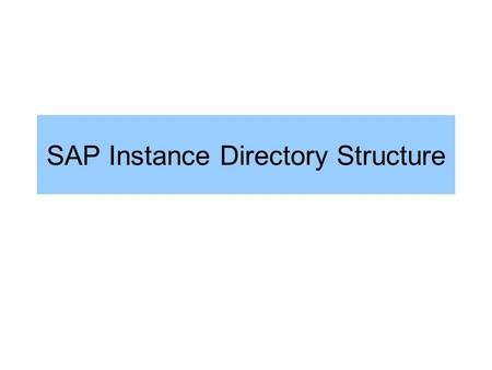 SAP Instance Directory Structure. SAP Instance /usr/sap/ / SYS/ profile exe/run global / work log data.