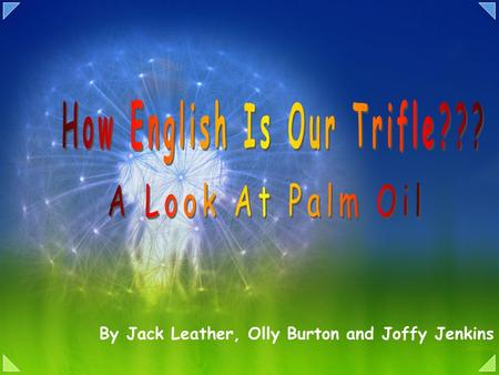 By Jack Leather, Olly Burton and Joffy Jenkins. Palm oil is a form of edible vegetable oil obtained from the fruit of the oil palm tree. Previously it.