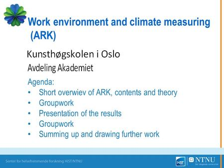 Agenda: Short overwiev of ARK, contents and theory Groupwork Presentation of the results Groupwork Summing up and drawing further work Work environment.