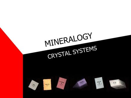MINERALOGY CRYSTAL SYSTEMS. Symmetry Mirror Plane = imaginary plane that divides a crystal into halves, each of which is the mirror image of the other.