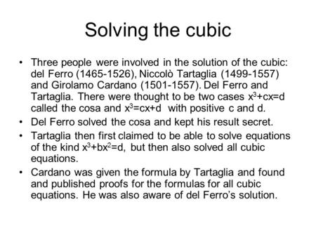 how to find solution of cubic equation