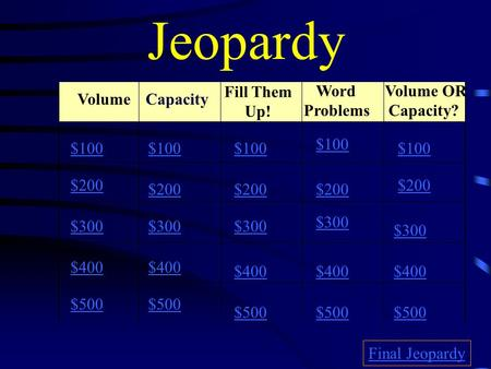 Jeopardy Volume Fill Them Up! Word Problems Volume OR Capacity? $100 $200 $300 $400 $500 $100 $200 $300 $400 $500 Final Jeopardy Capacity.