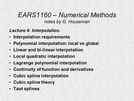 EARS1160 – Numerical Methods notes by G. Houseman