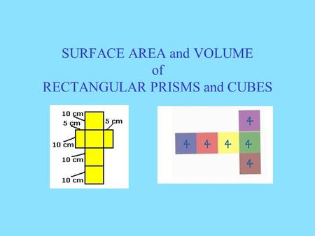 SURFACE AREA and VOLUME of RECTANGULAR PRISMS and CUBES.