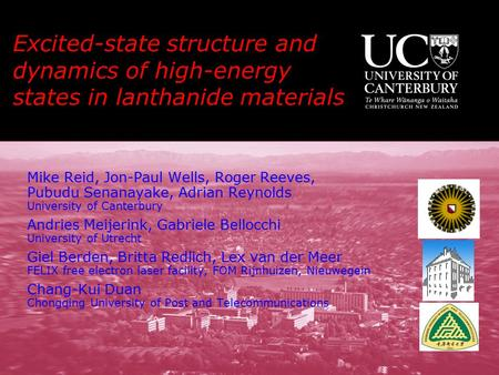 Excited-state structure and dynamics of high-energy states in lanthanide materials Mike Reid, Jon-Paul Wells, Roger Reeves, Pubudu Senanayake, Adrian Reynolds.