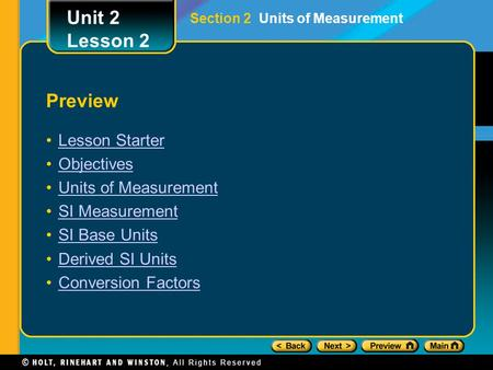 Unit 2 Lesson 2 Preview Lesson Starter Objectives Units of Measurement