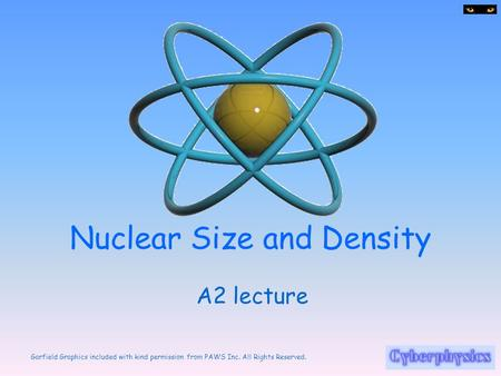 Garfield Graphics included with kind permission from PAWS Inc. All Rights Reserved. Nuclear Size and Density A2 lecture.