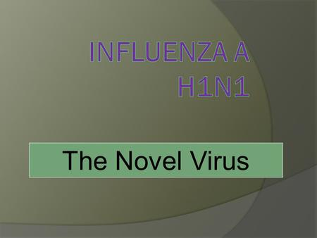 The Novel Virus. Current situation Since March 2009, a novel strain of influenza A (H1N1) virus has been identified, which is being described as a new.