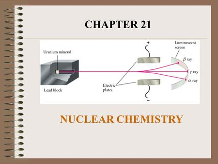 CHAPTER 21 NUCLEAR CHEMISTRY. I. Ordinary Chemical Reactions A. Bond breaking, bond forming, only outer electrons of the atoms are disturbed. B. Nuclei.
