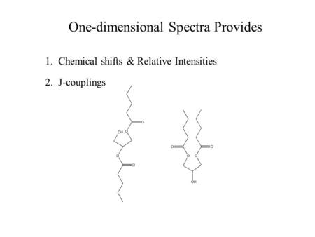 One-dimensional Spectra Provides 1. Chemical shifts & Relative Intensities 2. J-couplings.
