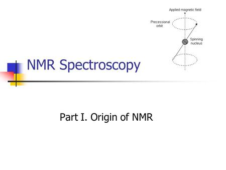 NMR Spectroscopy Part I. Origin of NMR. Nuclei in Magnetic Field Nucleus rotate about an axis -- spin Nucleus bears a charge, its spin gives rise to a.