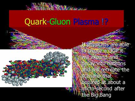 Quark-Gluon Plasma !? If physicists are able to create a QGP it will expand and decay into hadrons and will recreate the scenario that occured at about.