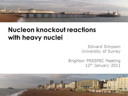 Nucleon knockout reactions with heavy nuclei Edward Simpson University of Surrey Brighton PRESPEC Meeting 12 th January 2011.