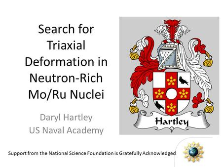 Search for Triaxial Deformation in Neutron-Rich Mo/Ru Nuclei Daryl Hartley US Naval Academy Support from the National Science Foundation is Gratefully.