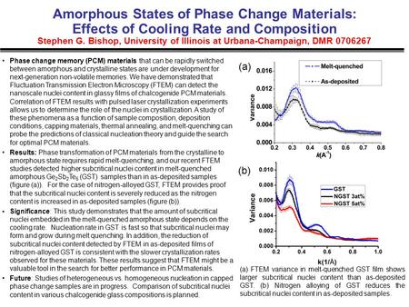 Amorphous States of Phase Change Materials: Effects of Cooling Rate and Composition Stephen G. Bishop, University of Illinois at Urbana-Champaign, DMR.