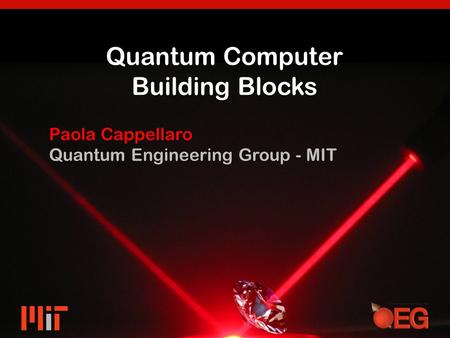 Quantum Computer Building Blocks Paola Cappellaro Quantum Engineering Group - MIT.