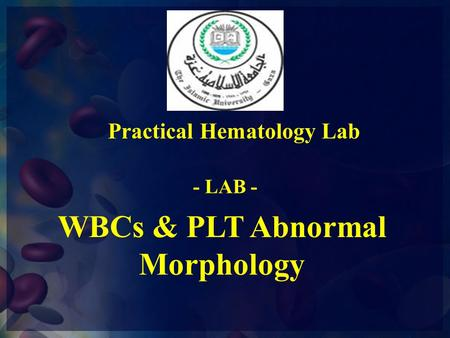 Practical Hematology Lab WBCs & PLT Abnormal Morphology